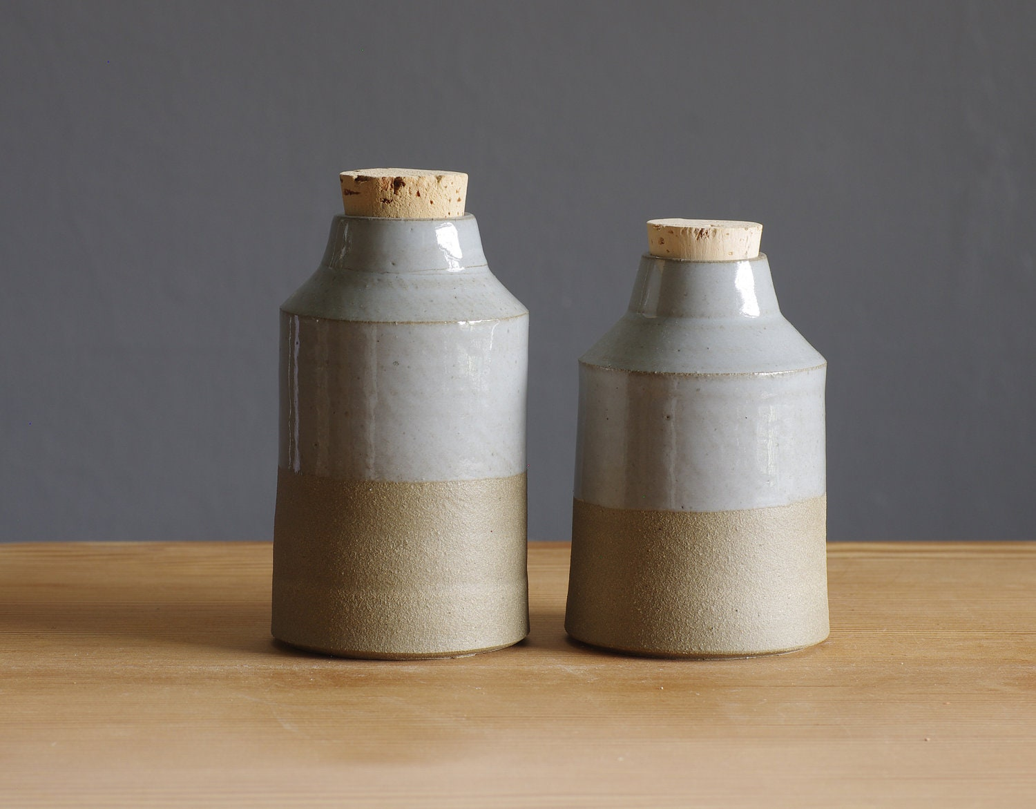 one bottle. sand stoneware with grey glaze. corked jar spice container pottery ceramic modern minimal simple kitchen - vitrifiedstudio