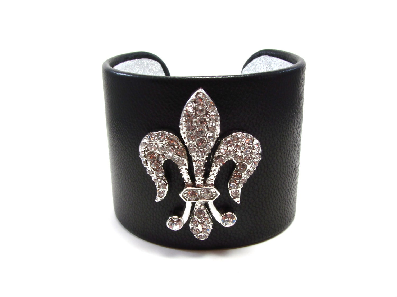 Fleur de Lis Cuff Bracelet - Crystal Fleur de Lis Black Leather Cuff Bracelet - Black and Silver Fleur de Lis Cuff - Fleur de Lys Jewelry
