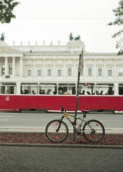 European bike photography, Red Tram, Euro summer, red, black, white, bicycle print, 11x14 photo - Raceytay