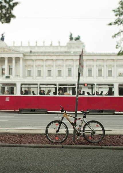European bike photography, Red Tram, Euro summer, red, black, white, bicycle print, 11x14 photo - Raceytay