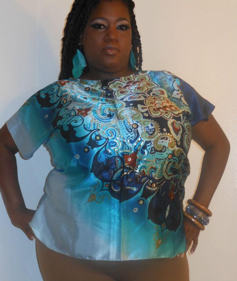 Lola - Posh N Petals Ombre Blue Turquoise Gold Metallic Charmeuse Silk  Blouse - XL-1X  Plus Size