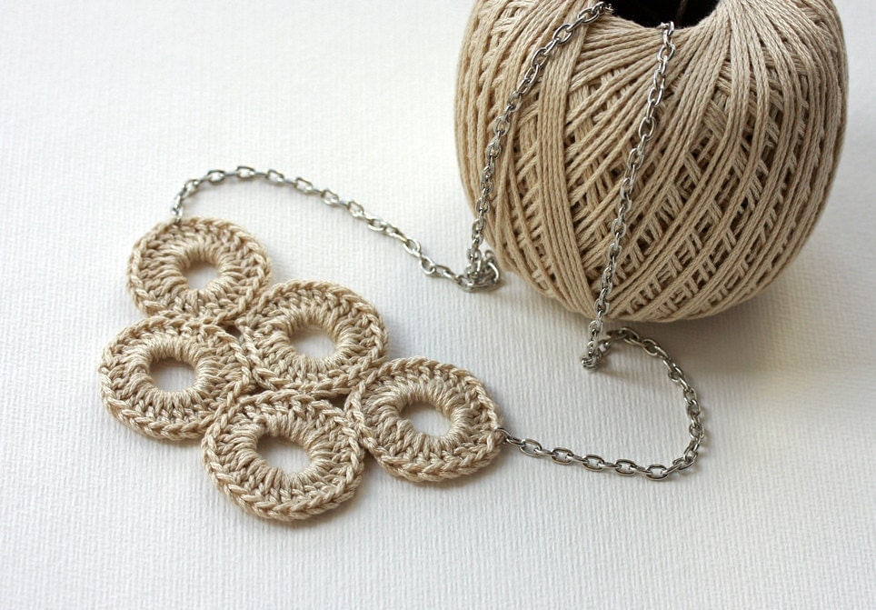 Crochet Necklace Neutral cotton circle natural whimsy olympic circles summer spring accessories - violasboutique