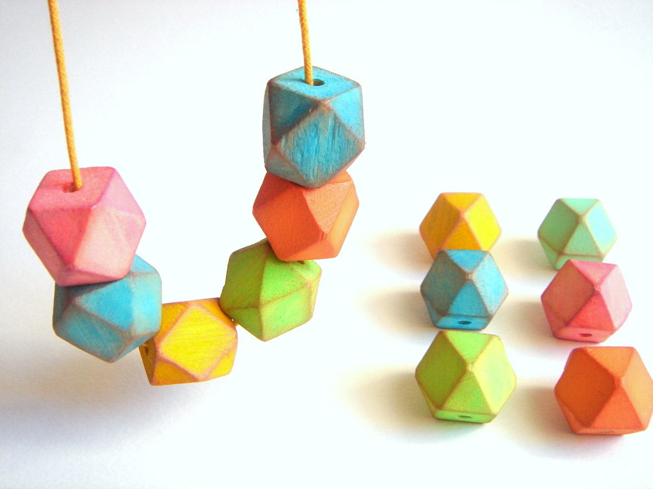 Neon Geometric Faceted Wood Beads,Hand Painted Wood beads, Geometric Jewelry,Do it Yourself Geometric necklace - LiKeBeads8