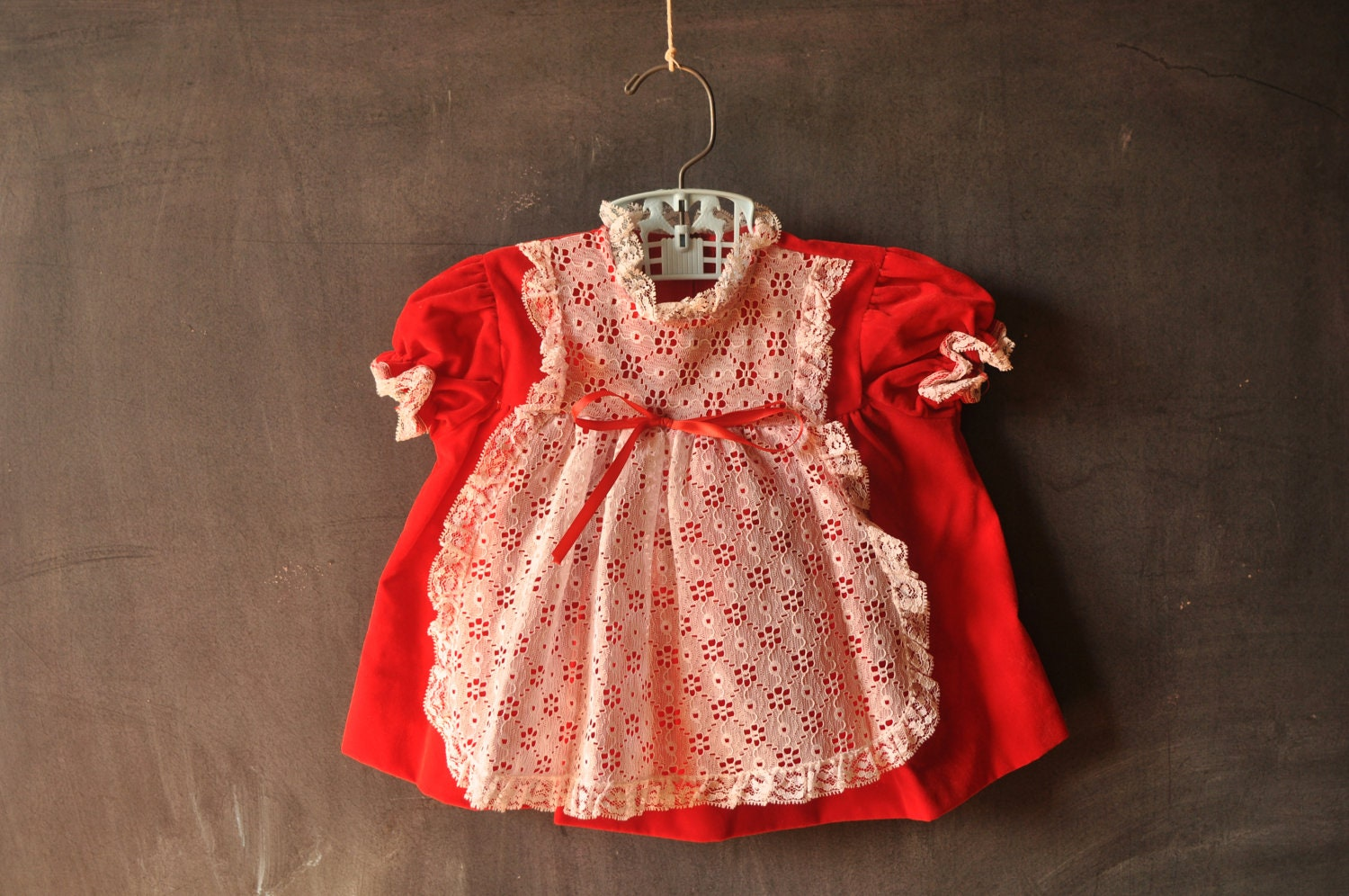 red velvet baby dress, size 12 months, with white lace bib overlay, matching bloomers - LaDiDottie
