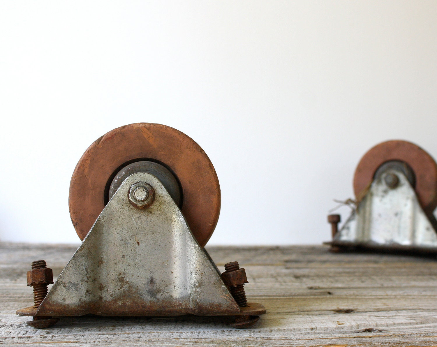 Vintage Industrial Clay Wheels - Set of Two Swivel Wheels - shavingkitsuppplies