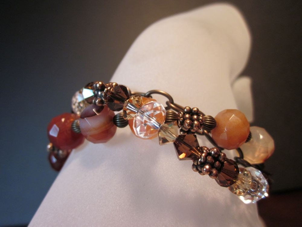 Daphne-Shibuichi Toggle, Carnelian Rondelles, Swarovski Crystals,Antiqued Brass, Antiqued Copper Bracelet