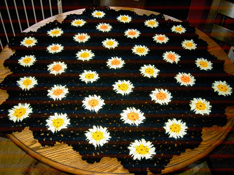 CROCHET BLANKET HANDMADE Hexigan Granny design spring green/orange/yellow colour (nannycheryl original)  637