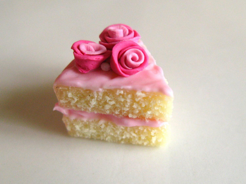 Pink Rose Cake Slice Charm - SALE - KelseysPastries