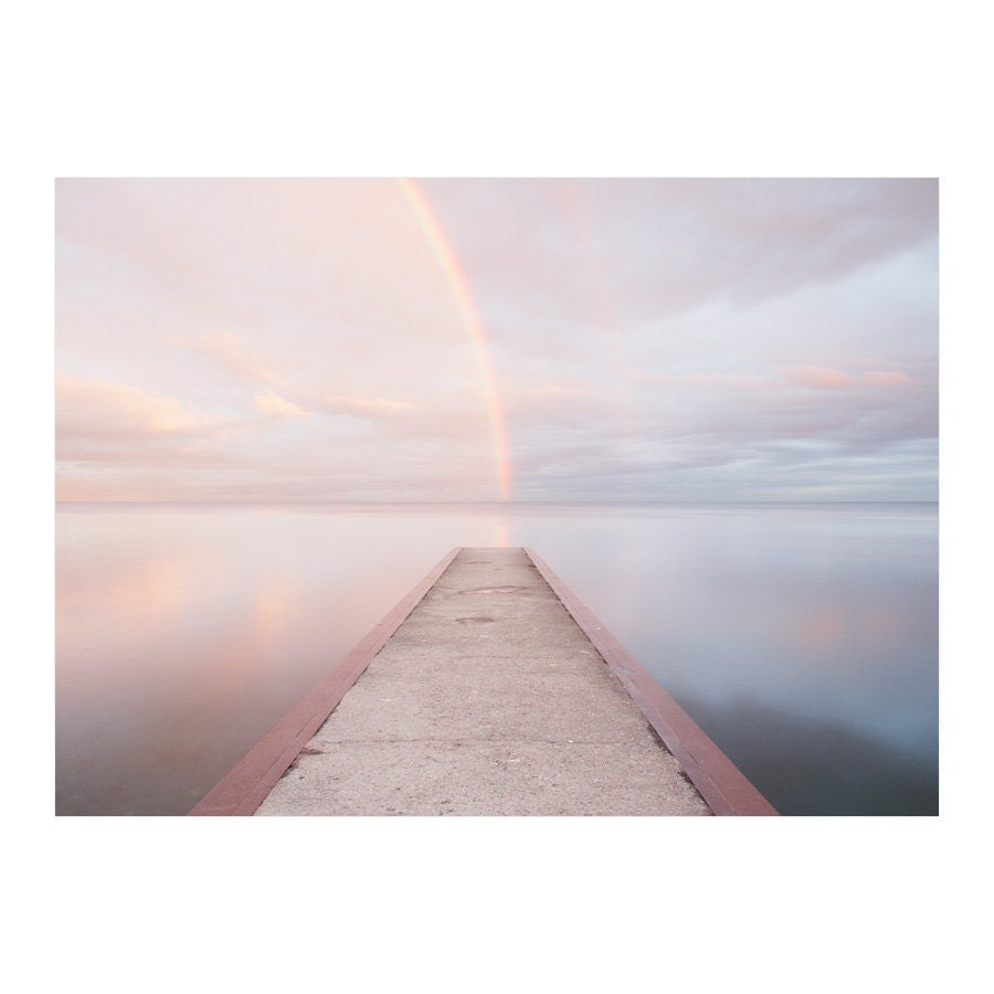 Rainbow photograph - Toronto lakeshore photo, dramatic landscape of double rainbow over a dock, inspirational art - Lake Ontario 3 8x10