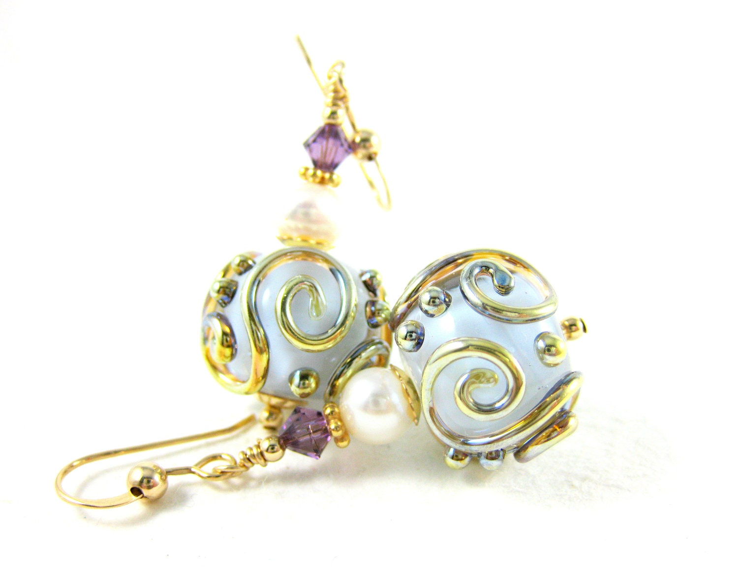 Pale Purple Glass Earrings, Lilac Gold Lampwork Glass Bead Earrings, Pearl Earrings, Purple Earrings - Hint of Lilac