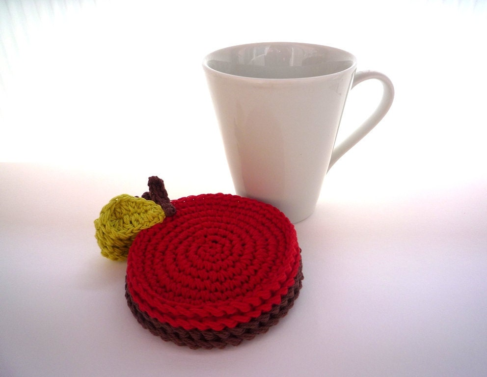 Apple Coasters Crochet Red and Chocolate set - 4pc