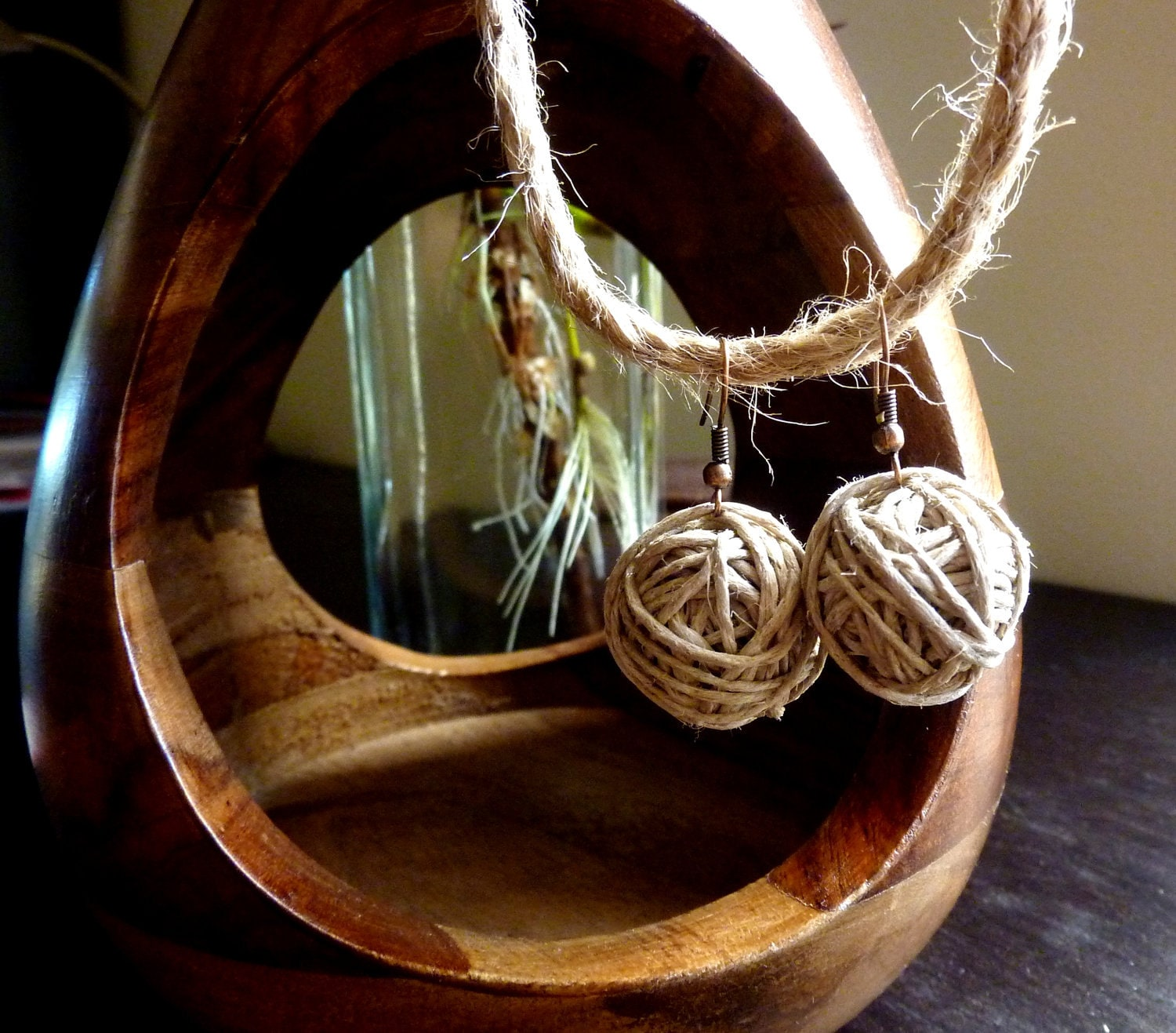 Handmade hemp cord balls earrings. Romantic and lightweight