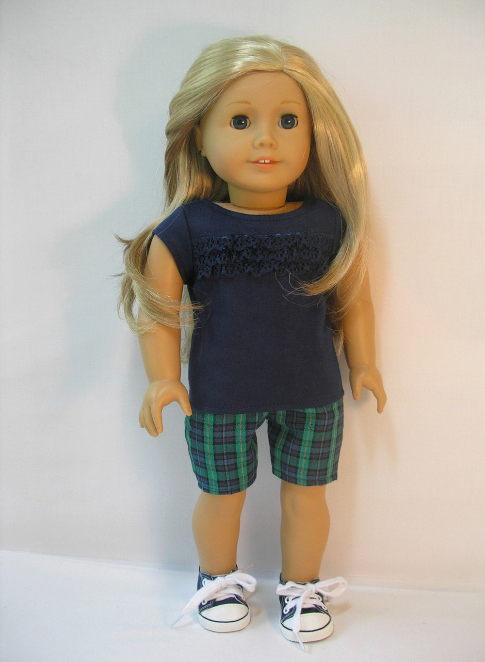 1691, 18 Inch Doll Clothes American Girl Doll Clothes Plaid Shorts Set