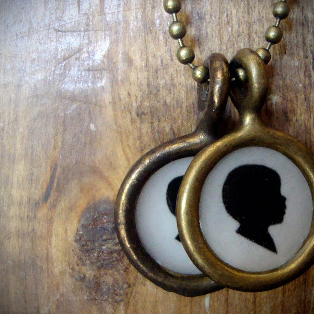custom silhouette necklace . two pendant . small size - luckymebeads
