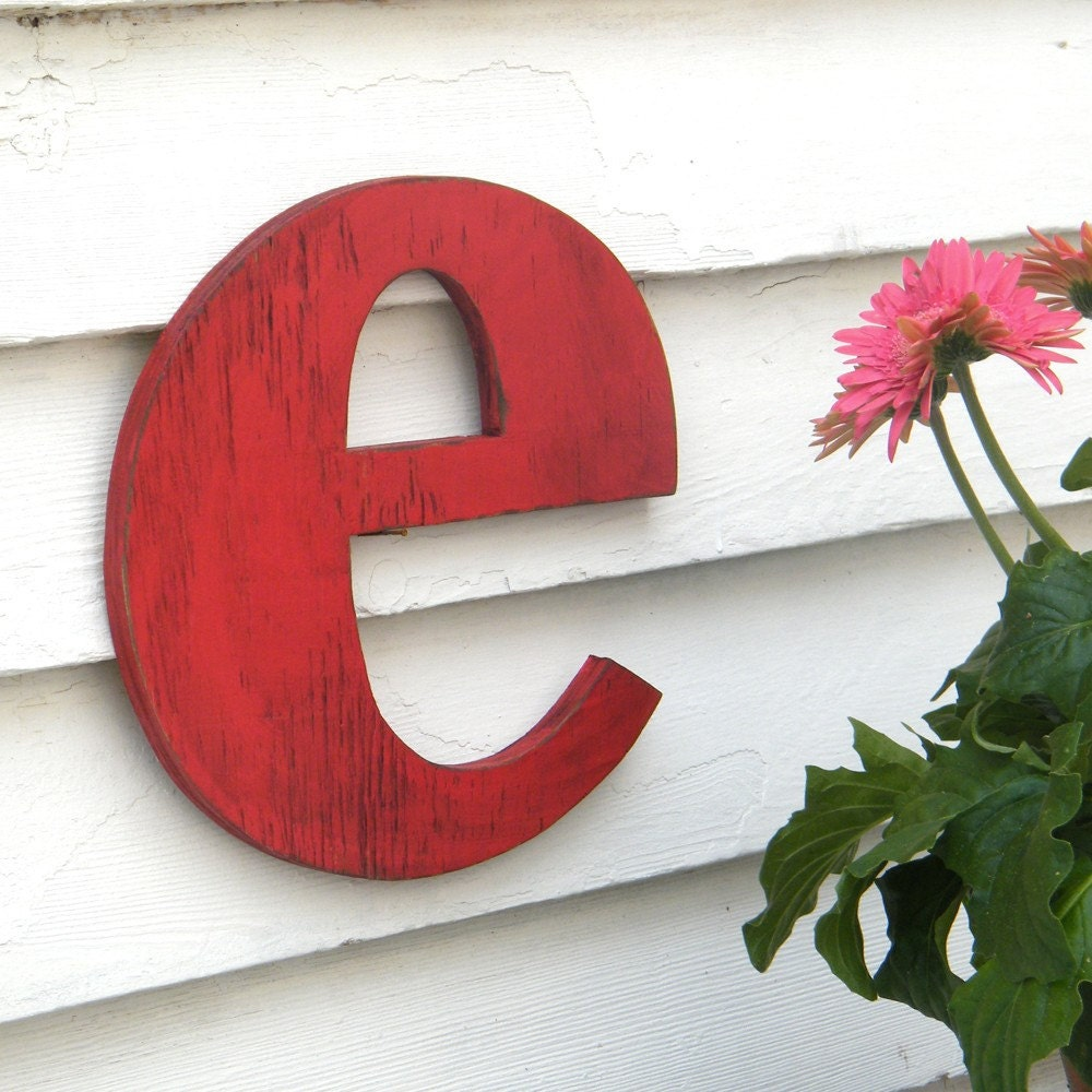 Custom Lowercase Letter Small e Red Distressed vintage style