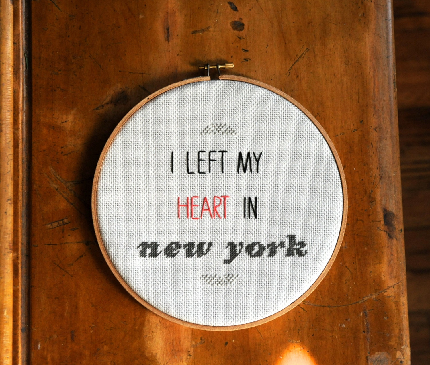 8'' 'i left my heart in new york' cross stitch wall hanging hoop