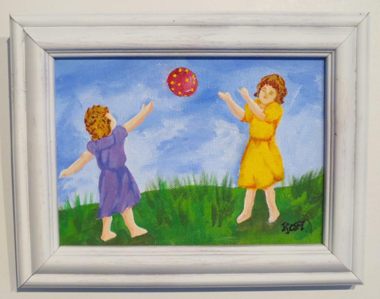 Folk Art , Painting, Girls, Playing, Ball, Toss, Vintage, Original Acrylic,  5x7, Framed - RisingStarArt