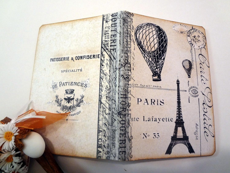 Steampunk Париже мини Journal, Vintage Париже ноутбуков, Эйфелева башня Altered Art Journal, воздушном шаре