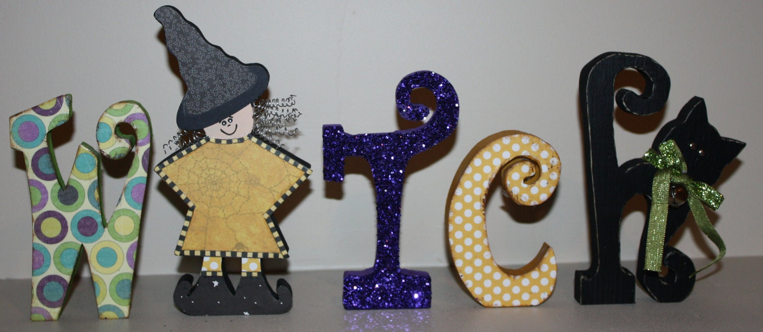 UNFINISHED Witch wood letters with a Witch for the 'I' and a Cat for the 'H'