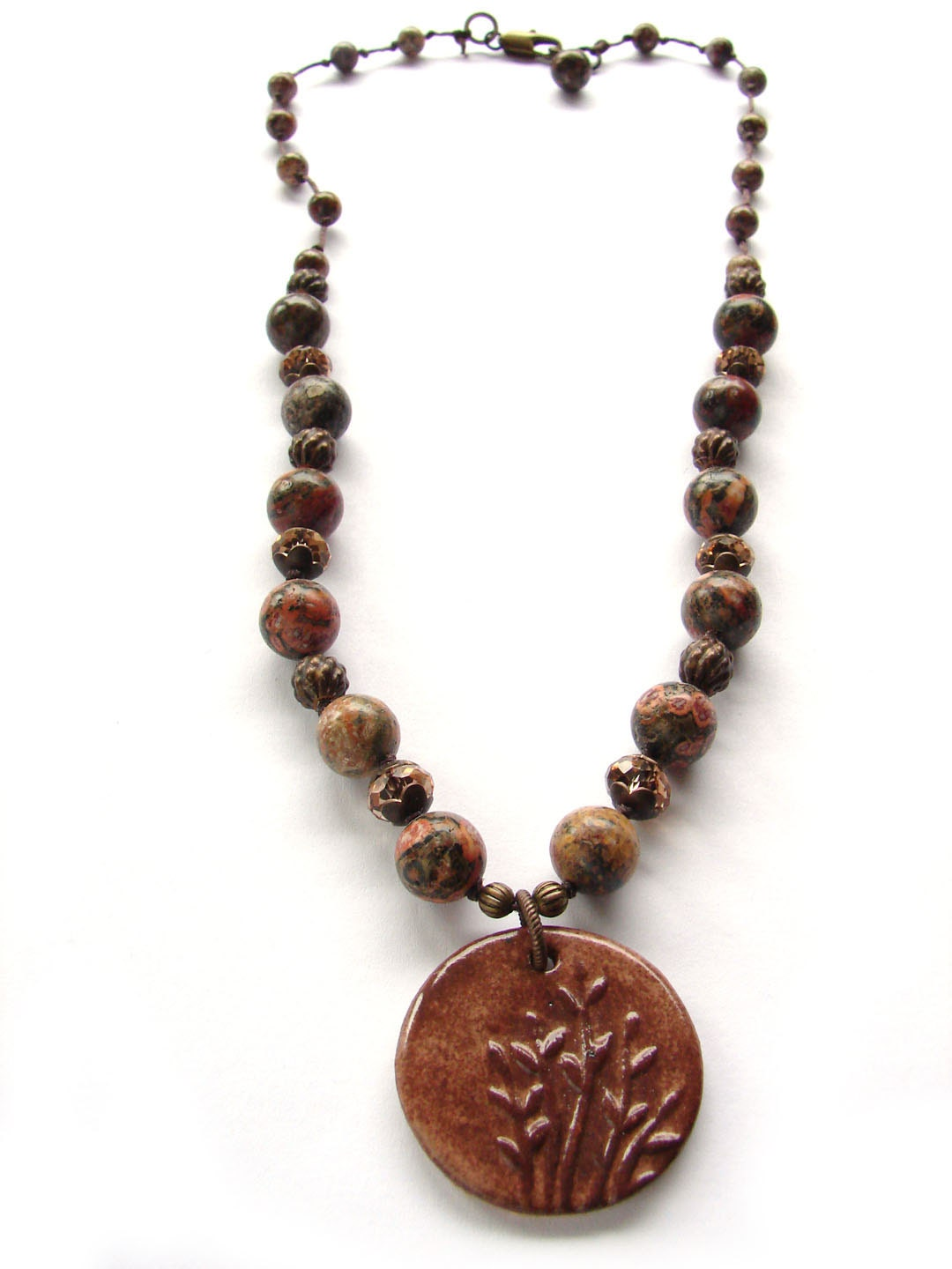 Brown Twig Necklace with hand knotted Jasper Beads - ForMySweetDaughter