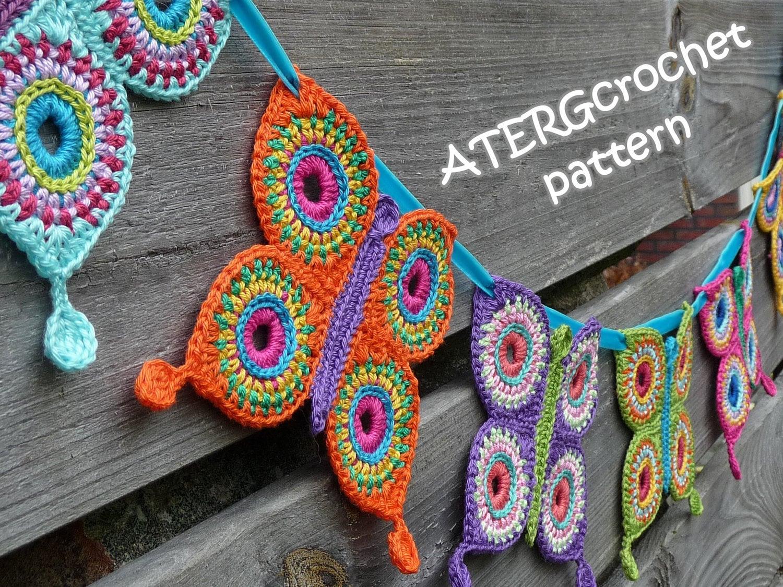 Crochet pattern butterfly garland by ATERGcrochet