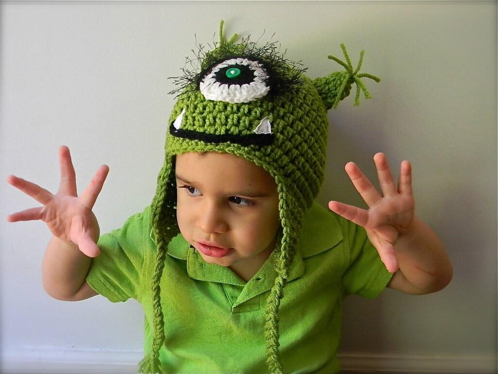 Monster hat  green with one eye - mermaiddesignsstore