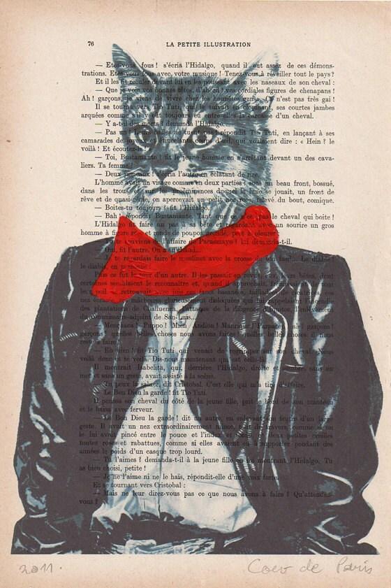 """Cool Cat - Original ручная роспись ARTWORK Смещаная 'La Petit Иллюстрация """"1920 известный журнал Parisien Коко De Paris"""