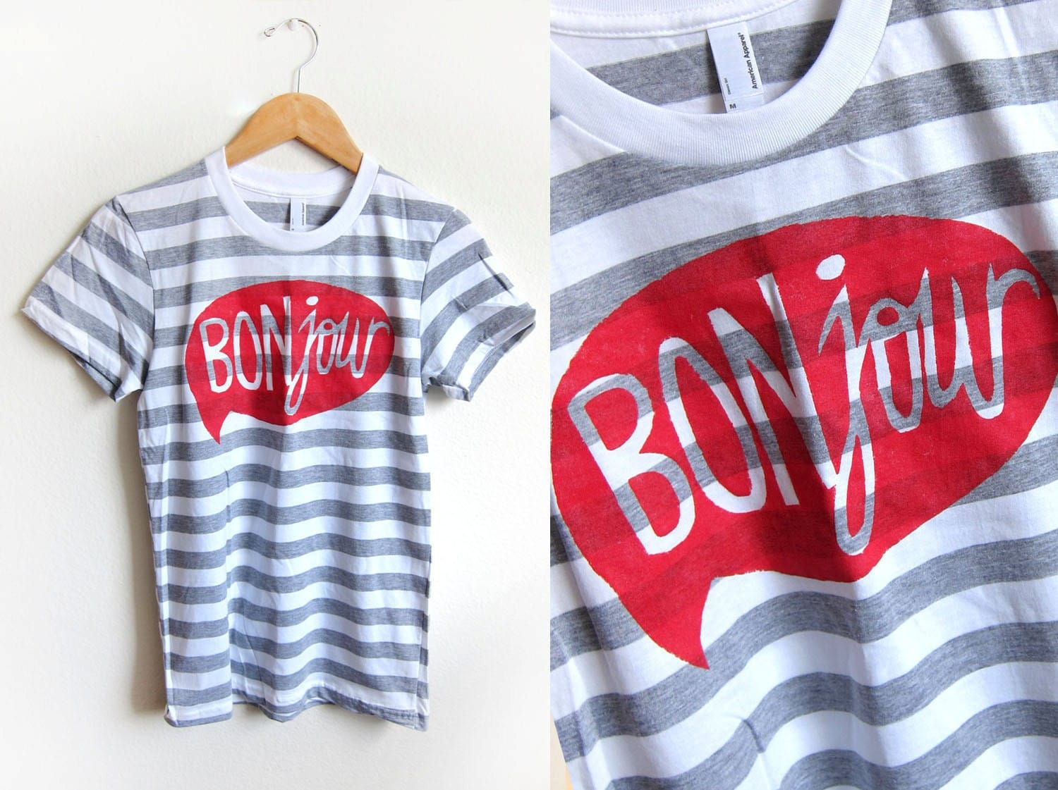 Grey and White HAND STENCILED Striped Word Bubble Rolled Cuffs Hello Bonjour Tee