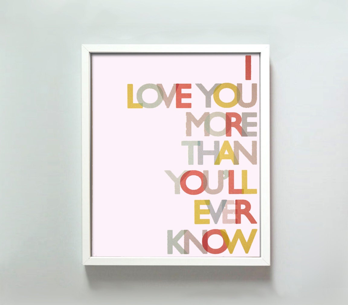 11x14 Love You More print in primary colors - GusAndLula