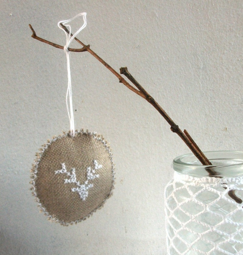 Ornamento Árvore em estopa de linho com chuva veados motivo shabby popular rústica decoração em estilo casa de férias - conjunto de dois