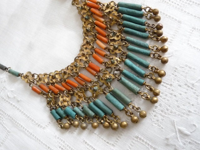 Vintage Necklace ethnic Egyptian Revival - PuertoRicosBazaar