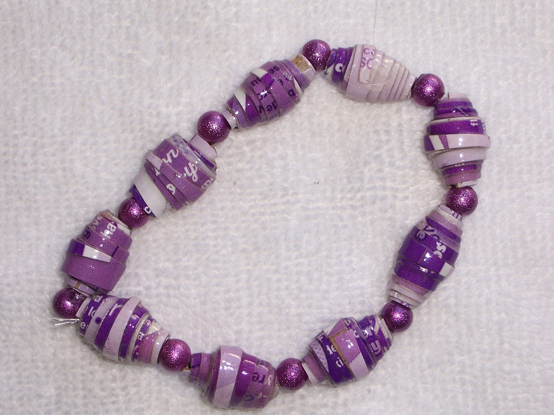 Paper Bead Bracelet  Purple