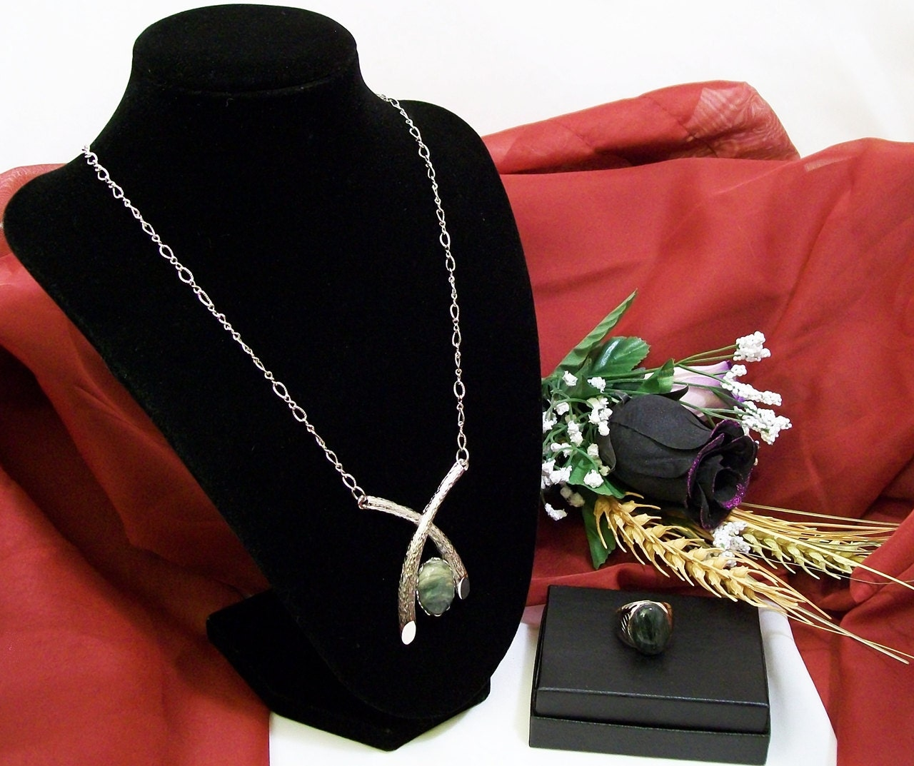 Coupled With Love, His and Her Green Quartz Jewelry Set