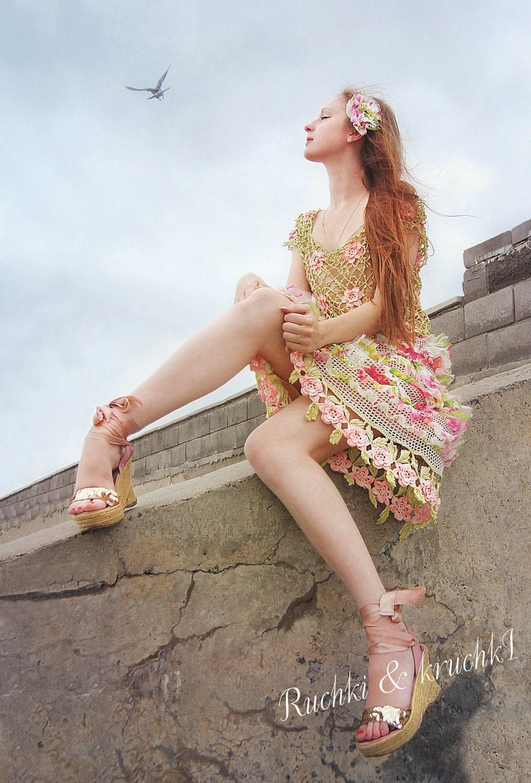 Designer crochet lace dress