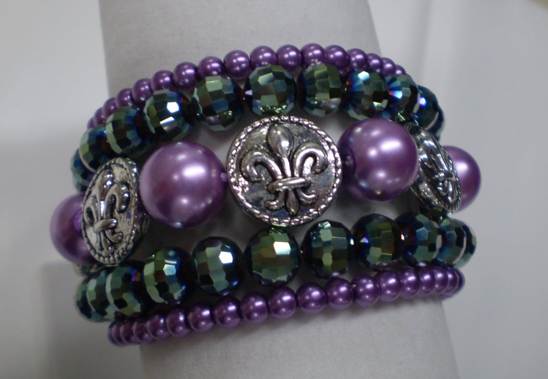 Bling Mardi Gras 5 Strand Crystal Pearl Fleu De Lis Wrap Bracelet - zellasdream