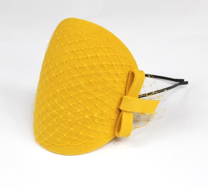 Yellow Fascinator with Veil and Bow - kagikagi