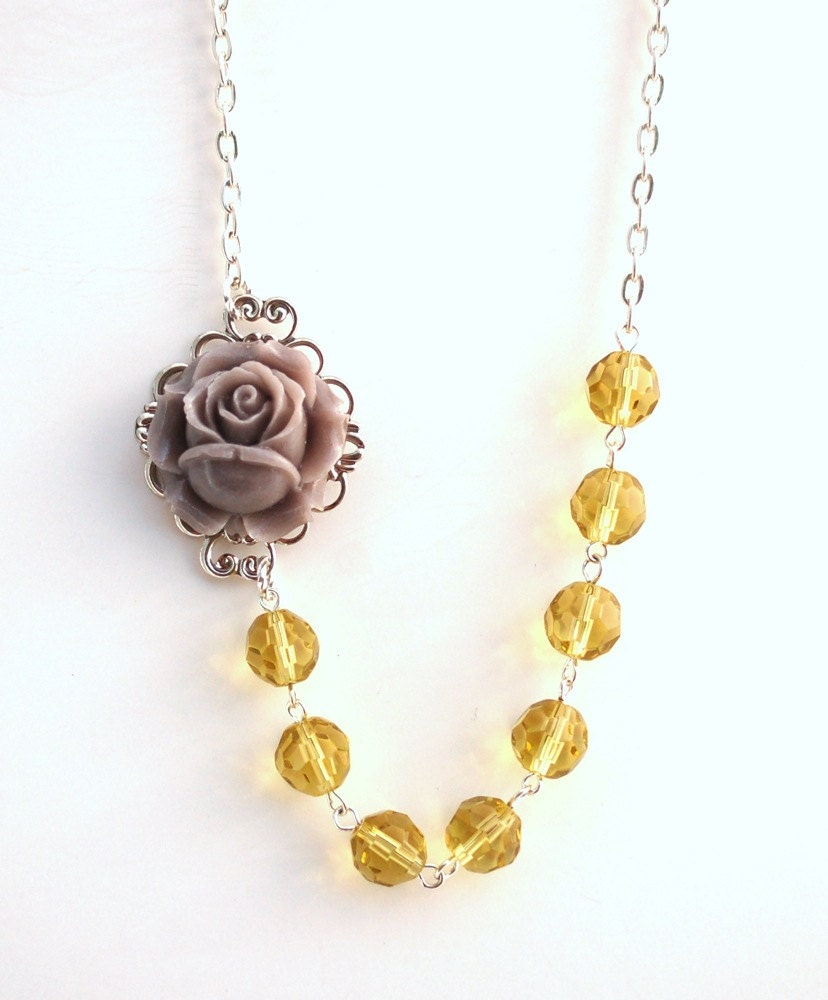 Asymmetrical Gray Rose Necklace Buy 3 Get 1 Free