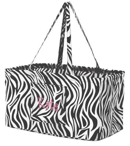 Monogrammed Zebra Print Carry All Tote - AmyBsEmbroidery