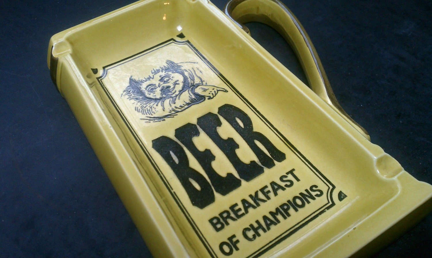 BEER, Breakfast of Champions 1970's Large Ceramic Beer Mug Ashtray - CandyCollins
