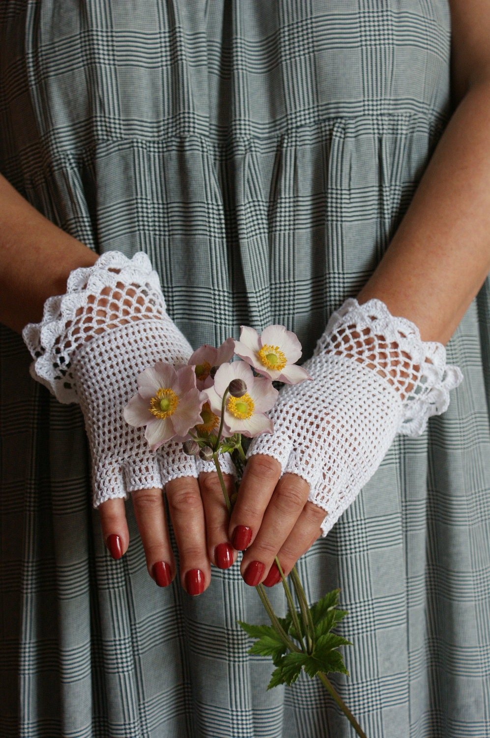 White Lace Crochet Mittens Weddings - Anazie