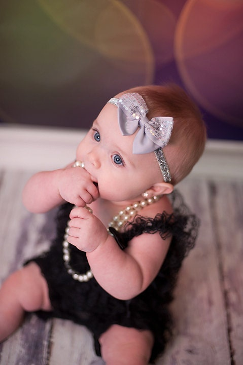 Gray Sequin Bow Baby headband, newborn headband, hair bow, newborn headband