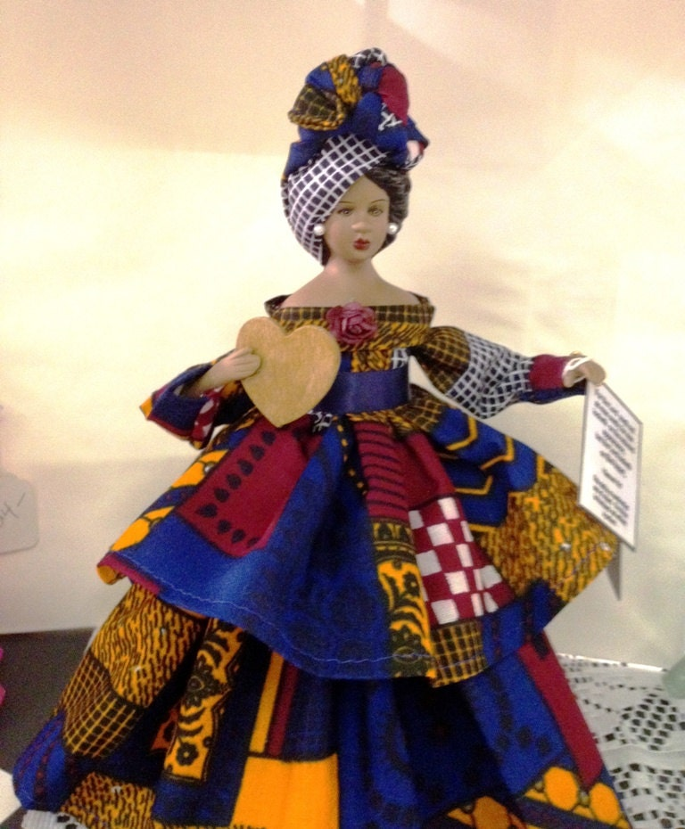 Black  African American Doll With Bible Verse with Afrocentric Dress