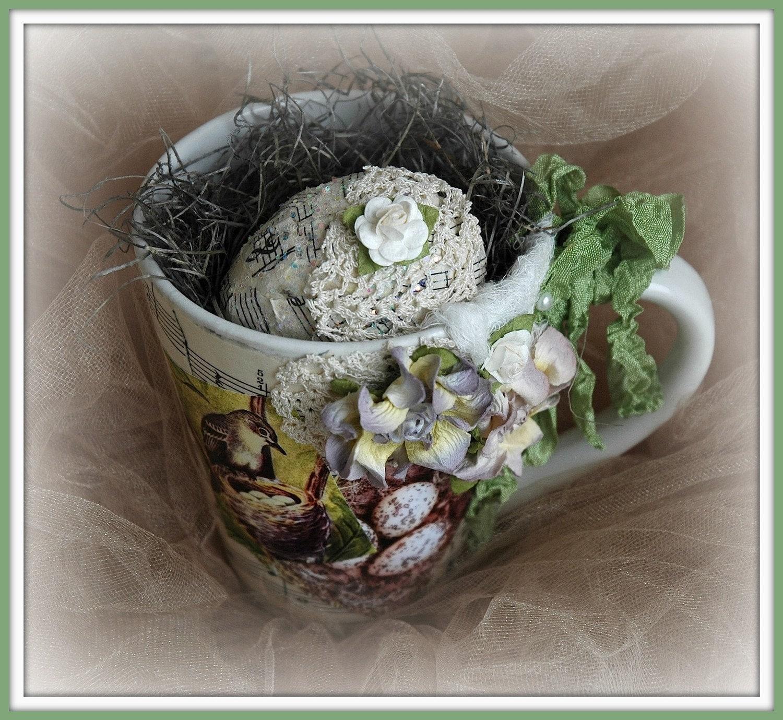 Потертый Chic Декор, Кружка кофе Mixed Media, гнездо