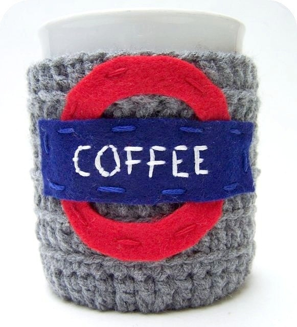 Coffee Cozy Mug Cozy London Underground cosy gray red blue