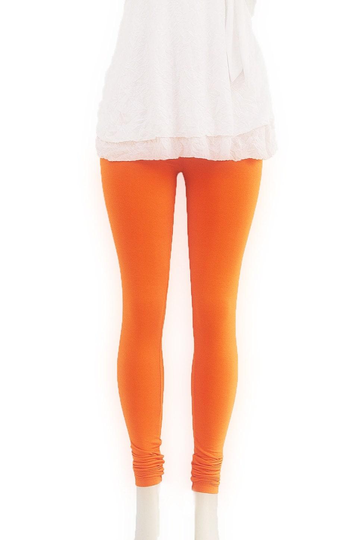 Orange  Knit Leggings Organic Eco Clothing  Womens Clothing Pants Tangerine Tango - FineThreadz