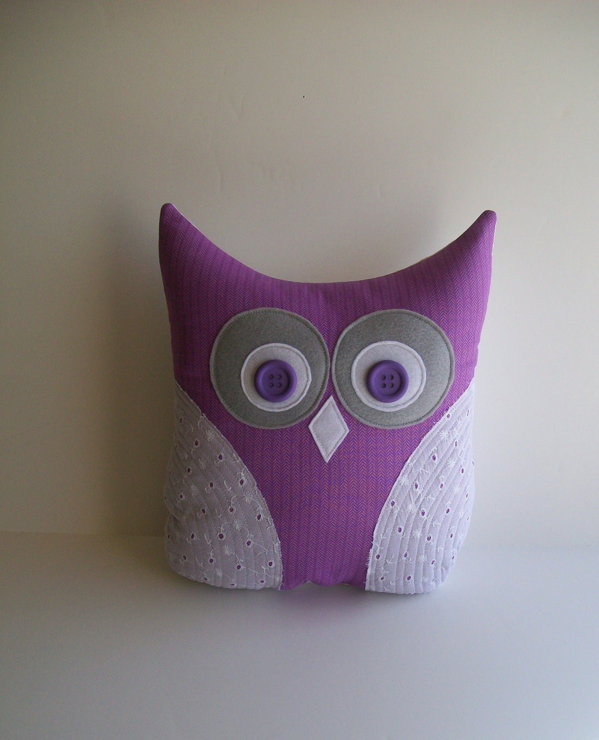 decorative owl pillow, grey, purple, white eyelet, spring, easter, nursery, child's room decor, mother's day gift under 25  READY TO SHIP