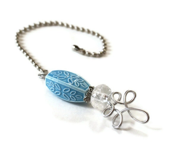 Decorative Chain Pull for the Home - Turquoise Blue and Silver - miasorellagifts