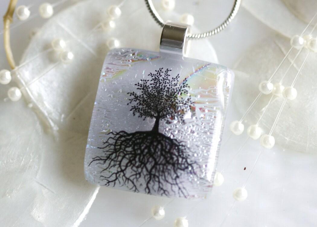 Tree of Life Dichroic Fused Glass Pendant 00984 - GetGlassy