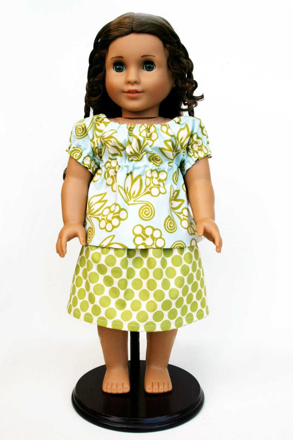 American Girl Doll Clothing - Aqua Babydoll Top and Lime Ta Dot Skirt