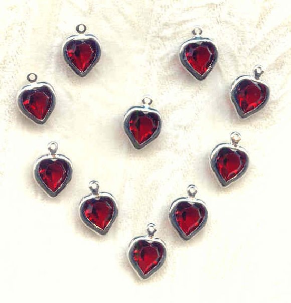 Swarovski Crystal Red Heart Charms Bezel Set Siam Ruby Valentines 10 Piece Set